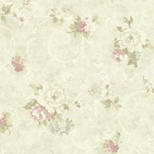 Pearl/White/Light to Dark Pink Floral Wallcovering by York