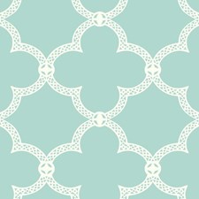 Turquoise/White Trellis Wallcovering by York