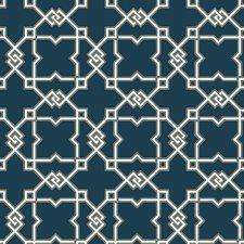 Darkest Blue/White/Gold Trellis Wallcovering by York