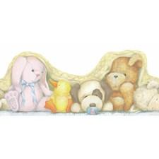 Cream/Pink/Honey Brown Stuffed Animals Wallcovering by York