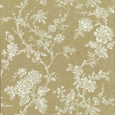 Metallics/White/Off Whites Floral Wallcovering by York