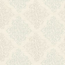 Soft Ivory/Hint Of Aqua/Platinum Pearl Metallic Damask Wallcovering by York