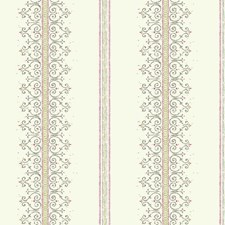 White/Metallic Silver/Pink Small Prints Wallcovering by York