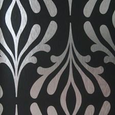 Onyx Black/Silver Foil Contemporary Wallcovering by York