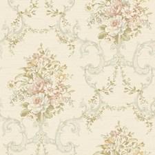Cream/Peach/White Damask Wallcovering by York