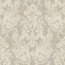 Mottled Sky Blue/Rich Cream/Taupe Damask Wallcovering by York