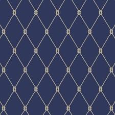 Marine Blue/White/Taupe Trellis Wallcovering by York