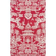 Red Asian Wallcovering by Brunschwig & Fils