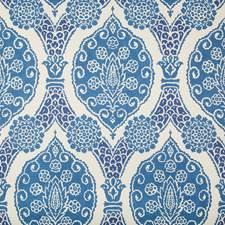 Blue Damask Wallcovering by Brunschwig & Fils