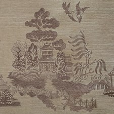 Taupe Chinoiserie Wallcovering by Brunschwig & Fils