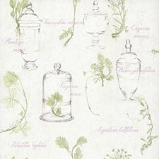 Pale and Medium Grey/Lavender/Pale Green Botanical Wallcovering by York