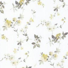 White/Yellow/Greys Floral Medium Wallcovering by York