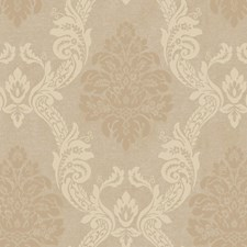 Pearled Linen Metallic/Rich Cream/Soft Coffee Damask Wallcovering by York