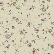 Beige/Purple/White Floral Medium Wallcovering by York