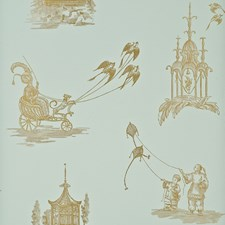 Aqua/Bronze Toile Wallcovering by Baker Lifestyle Wallpaper