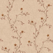 Beige/Red/Brown Vine Wallcovering by York