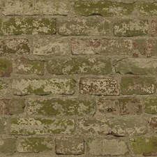 Dark Green/Off White/Light Taupe Brick Wallcovering by York