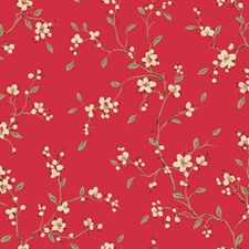 Bright Red/White/Tan Asian Wallcovering by York