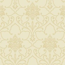 Cream/Gold Glitter Damask Wallcovering by York