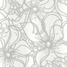 White/Light Grey/Medium Grey Floral Wallcovering by York