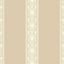 Beige/White/Gold Damask Wallcovering by York