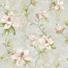 Pale Grey/Pink/Brown Floral Wallcovering by York