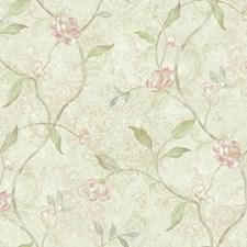 Cream/Beige/Pink Botanical Wallcovering by York