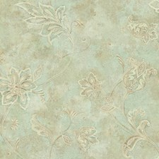 Pale Blue/Green/Cream Jacobean Wallcovering by York