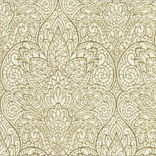 Ivory/Gold/Metallic Damask Wallcovering by Kravet Wallpaper