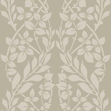 Beige/White/Metallic Botanical Wallcovering by Kravet Wallpaper