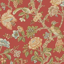 Tomato/Sky Blue/Beige Floral Wallcovering by York