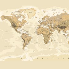 WALS0242 Sepia World Wall Mural by Brewster
