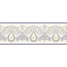 White/Purple/Pale Gold Animals Wallcovering by York