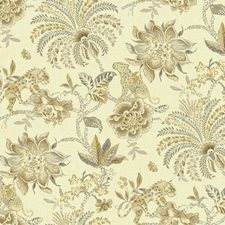 Rich Cream/Grey/Tan Floral Medium Wallcovering by York