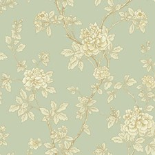 Light Grey-green/Off-white/Cream Asian Wallcovering by York