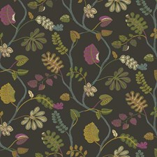 Charcoal Grey/Orchid Purple/Robin's Egg Blue Botanical Wallcovering by York