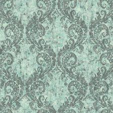 Teal/Silver/White Batik Wallcovering by York