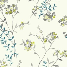 White/Grey/Teal Floral Wallcovering by York