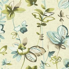 Creamy Pearl/Teal/Aquamarine Watercolor Wallcovering by York