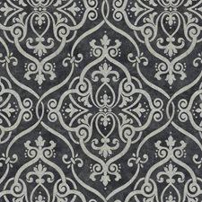 Dark Grey/Pale Grey/Silver Glitter Damask Wallcovering by York