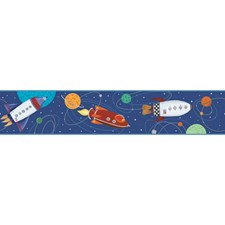 Navy/Red/White Rocket Ship Wallcovering by York